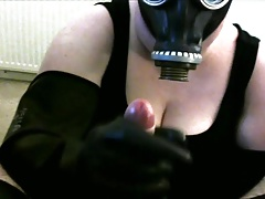Gas mask glovejob