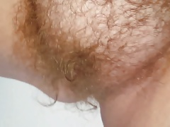 drying her wooly pussy,tits..