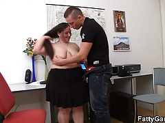Drilling thick  office chick..