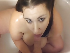 Peeing on Busty Plumper